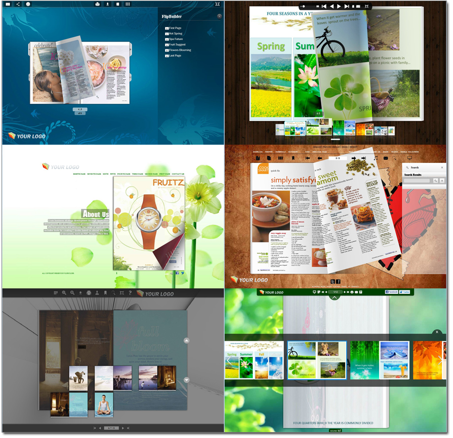Various New Online Flipping Book Templates with Fresh Layout Good for Personal Design