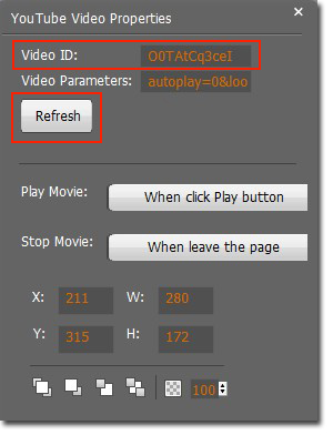 "Copy your YouTube ID and paste it in ""Video ID"" in the Properties column"