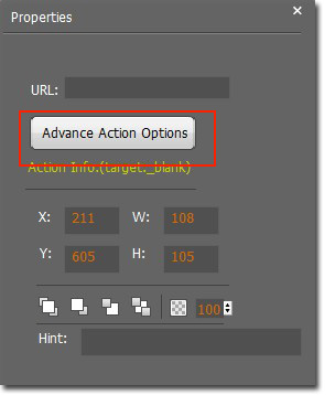 Set action for the icon, such as adding website link, adding flash and as on