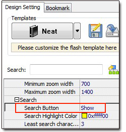 "Choose ""Show"" in ""Search > Search Button"""
