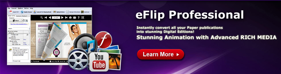 eFlip - Create flipbook from PDF, MS Office, OpenOffice and